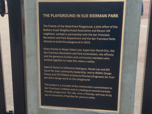 plaque commemorating the construction of the playground at Sue Bierman park