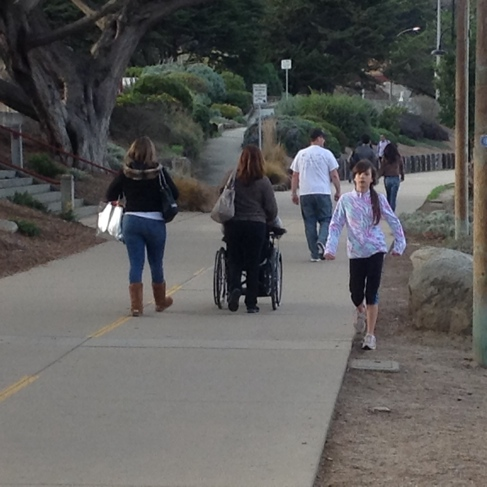 Strollers and wheelchair user on trail